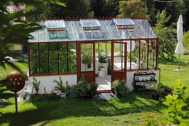 stůl ve skleníku