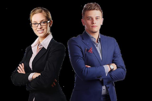 obchodní partneři (muž a žena)