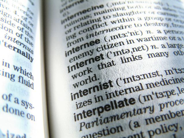 definice internetu v anglickém slovníku pojmů